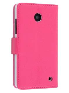 Nokia Lumia 635/636/630 Slim Synthetic Leather Wallet Case with Stand - Hot Pink