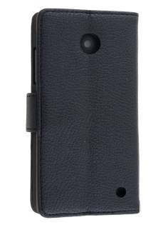 Nokia Lumia 635/636/630 Slim Synthetic Leather Wallet Case with Stand - Classic Black Leather Wallet Case