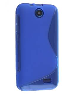 Wave Case for HTC Desire 310 - Frosted Blue/Blue Soft Cover