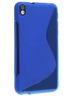 HTC Desire 816 Wave Case - Frosted Blue/Blue Soft Cover