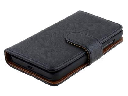 Nokia Lumia 635/636/630 Slim Synthetic Leather Wallet Case with Stand - Classic Black