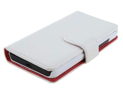 Nokia Lumia 635/636/630 Slim Synthetic Leather Wallet Case with Stand - Pearl White
