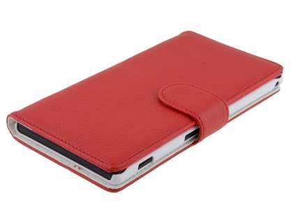 Sony Xperia T2 Ultra Slim Synthetic Leather Wallet Case with Stand - Red