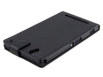Synthetic Leather Flip Case for Sony Xperia T2 Ultra - Classic Black