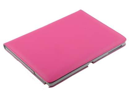 Premium Genuine Leather Slim Portfolio Case with Stand for Samsung Galaxy Note 10.1 (2014 Edition) - Hot Pink
