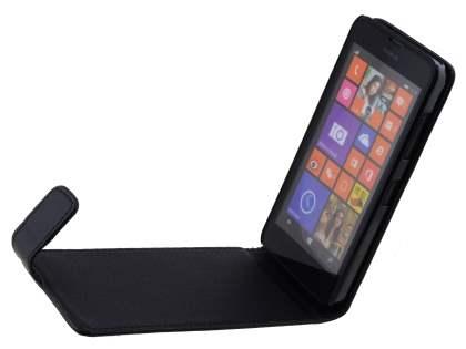 Synthetic Leather Flip Case for Nokia Lumia 635/636/630 - Classic Black