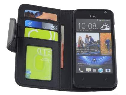 HTC Desire 300 Synthetic Leather Wallet Case with Stand - Classic Black