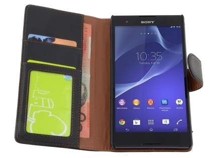 Sony Xperia T2 Ultra Slim Synthetic Leather Wallet Case with Stand - Classic Black