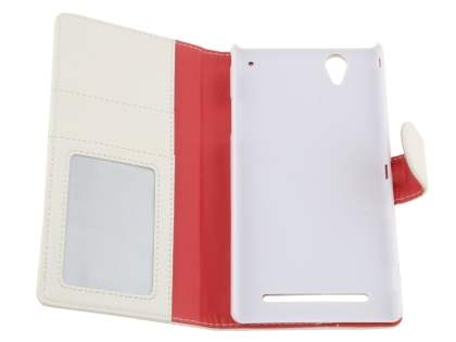 Sony Xperia T2 Ultra Slim Synthetic Leather Wallet Case with Stand - Pearl White
