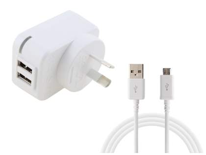 Dual USB Charger with Data Cable - Pearl White AC Wall Charger