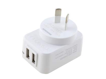 Dual USB Charger with Data Cable - Pearl White