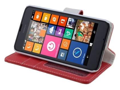 Nokia Lumia 635/636/630 Slim Synthetic Leather Wallet Case with Stand - Red