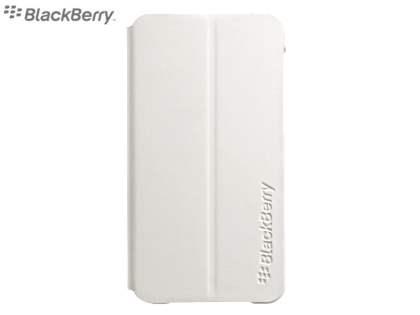 Original BlackBerry Z10 Flip Shell  - Pearl White Leather Wallet Case