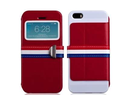 Momax French Style Flip View Case for iPhone SE/5s/5 - Red Leather Wallet Case