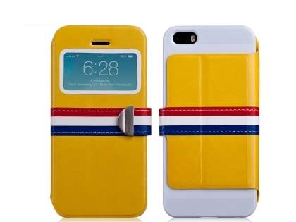 Momax French Style Flip View Case for iPhone SE/5s/5 - Canary Yellow Leather Wallet Case