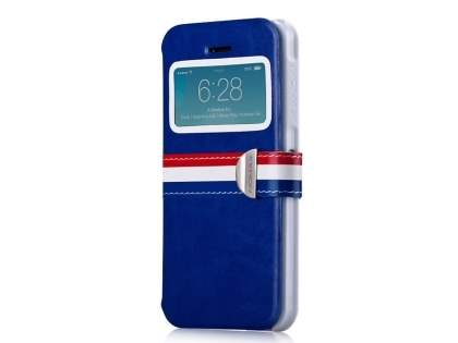 Momax French Style Flip View Case for Apple iPhone SE/5s/5 - Ocean Blue