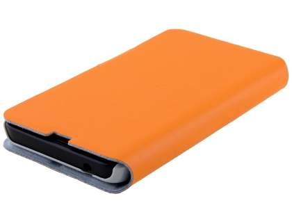 Slim Genuine Leather Portfolio Case for Nokia Lumia 635/636/630 - Orange