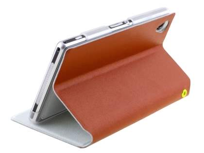 Slim Genuine Leather Portfolio Case with Stand for Sony Xperia Z1 - Brown