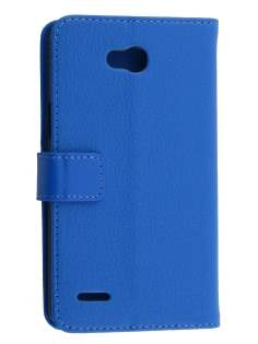 LG L80 Dual Synthetic Leather Wallet Case with Stand - Blue Leather Wallet Case