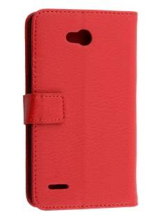 LG L80 Dual Synthetic Leather Wallet Case with Stand - Red Leather Wallet Case