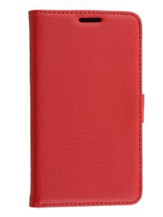 LG L80 Dual Synthetic Leather Wallet Case with Stand - Red