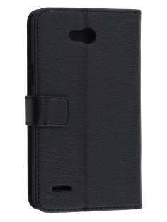 LG L80 Dual Synthetic Leather Wallet Case with Stand - Classic Black Leather Wallet Case