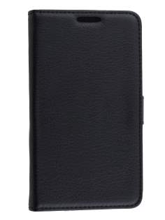 LG L80 Dual Synthetic Leather Wallet Case with Stand - Classic Black