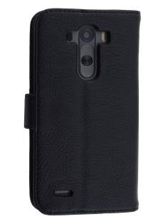 LG G3 Slim Synthetic Leather Wallet Case with Stand - Classic Black Leather Wallet Case
