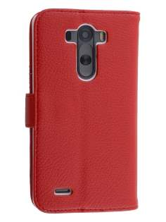 LG G3 Slim Synthetic Leather Wallet Case with Stand - Red Leather Wallet Case