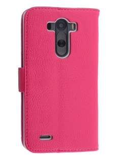 LG G3 Slim Synthetic Leather Wallet Case with Stand - Pink Leather Wallet Case