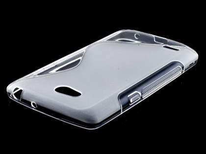 Dual Wave Case for LG L80 - Frosted Clear/Clear Soft Cover
