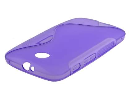 Wave Case for Motorola Moto E 1st Gen - Frosted Purple/Purple Soft Cover