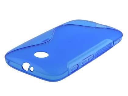 Wave Case for Motorola Moto E 1st Gen - Frosted Blue/Blue Soft Cover
