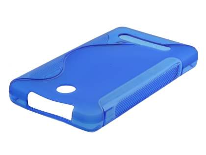 Wave Case for Nokia Asha 210 - Frosted Blue/Blue Soft Cover