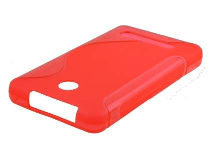 Nokia Asha 210 Wave Case - Frosted Red/Red Soft Cover