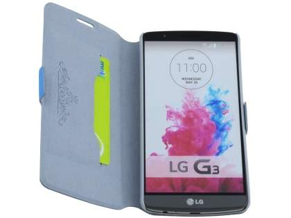 Slim Genuine Leather Portfolio Case for LG G3 - Blue