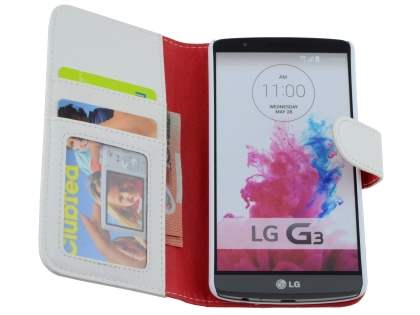 LG G3 Slim Synthetic Leather Wallet Case with Stand - Pearl White