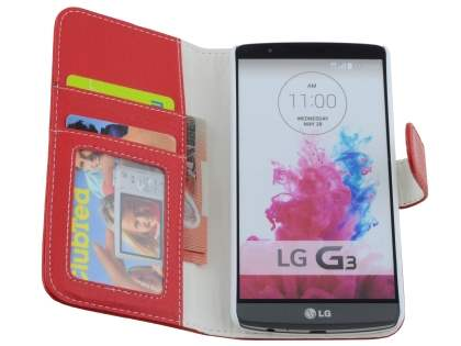 LG G3 Slim Synthetic Leather Wallet Case with Stand - Red