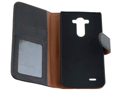 LG G3 Slim Synthetic Leather Wallet Case with Stand - Classic Black