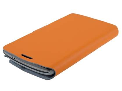 Slim Genuine Leather Portfolio Case for LG G3 - Orange
