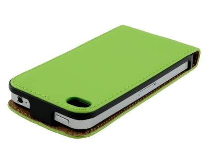 iPhone 4S/4 Slim Synthetic Leather Flip Case - Green