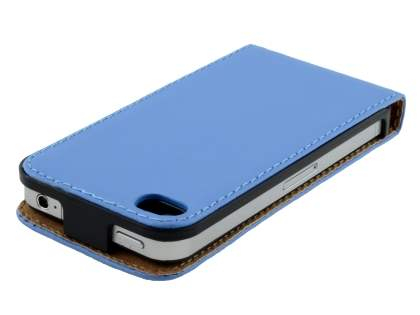 Synthetic Leather Flip Case for iPhone 4S/4 - Blue