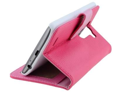 Synthetic Leather Wallet Case with Stand for LG G3 - Pink