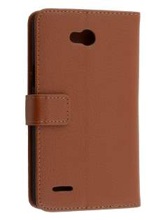 LG L80 Dual Synthetic Leather Wallet Case with Stand - Brown Leather Wallet Case