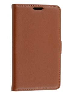 LG L80 Dual Synthetic Leather Wallet Case with Stand - Brown