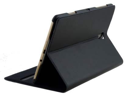 Premium Genuine Leather Slim Portfolio Case with Stand for Samsung Galaxy Tab S 8.4 - Classic Black