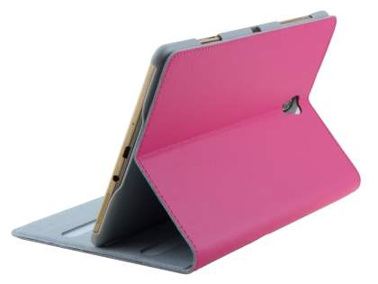 Premium Genuine Leather Slim Portfolio Case with Stand for Samsung Galaxy Tab S 8.4 - Pink Leather Flip Case