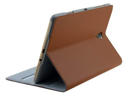 Premium Genuine Leather Slim Portfolio Case with Stand for Samsung Galaxy Tab S 8.4 - Brown Leather Flip Case