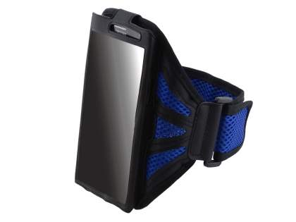 Sports Arm Band (Bumper Case Compatible) for HTC One M7 - Black/Navy Blue