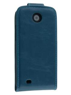 Synthetic Leather Flip Case for HTC Desire 300 - Teal Blue Leather Flip Case
